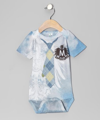 Blue Preppie Tie Personalized Bodysuit - Infant