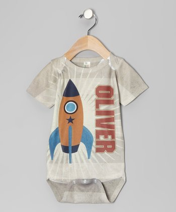 Tan Stripe Rocket Personalized Bodysuit - Infant
