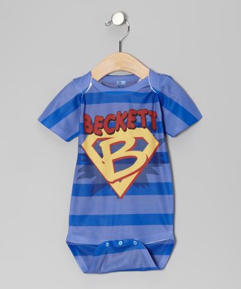 Blue Stripe Superhero Personalized Bodysuit - Infant