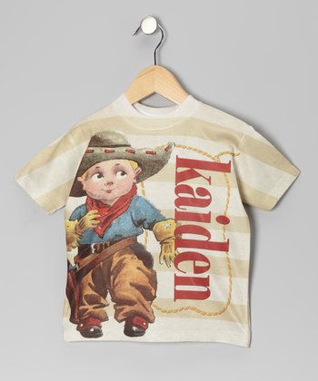 Tan Stripe Cowboy Personalized Tee - Toddler & Kids