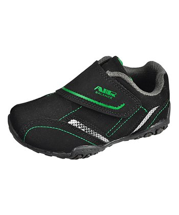 Black & Green Hook & Loop Sneaker