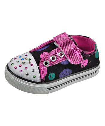 Black & Fuchsia Sparkle Dot Sneaker