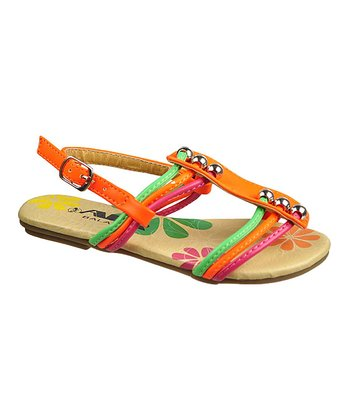 Neon Orange Bead Strappy Sandal