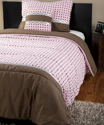 Pink & Brown Katie Comforter Set
