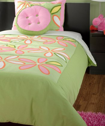 Green & Pink Daisy Green Comforter Set