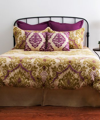 Raspberry & Apple Green Comforter Set