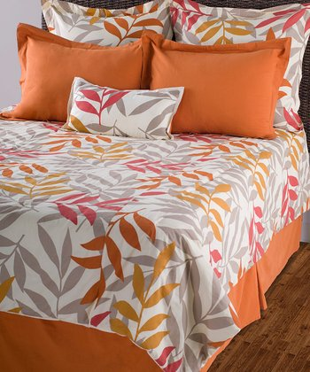Beige & Orange Comforter Set