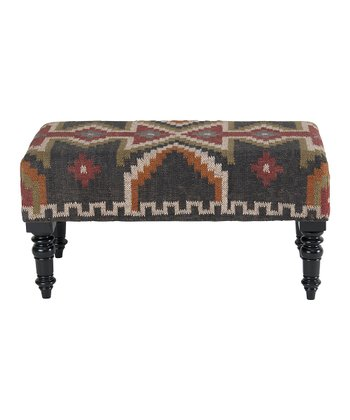 Dark Gray Kilim Bench