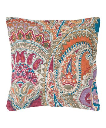Orange & Pink Paisley Throw Pillow