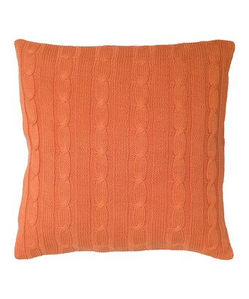 Orange Cable-Knit Throw Pillow