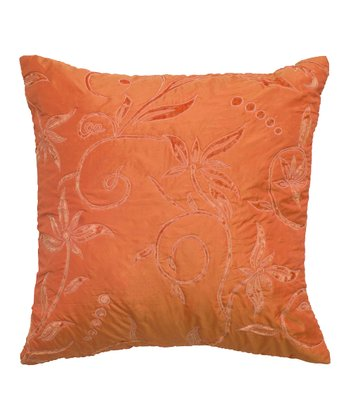 Orange Floral Velvet Throw Pillow