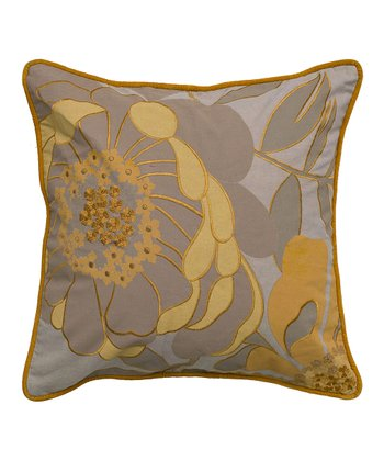 Taupe & Mustard Blossom Throw Pillow