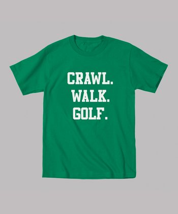 Kelly Green 'Crawl. Walk. Golf.' Tee - Toddler & Kids