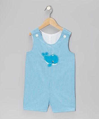 Aqua Whale Gingham Shortalls - Infant & Toddler