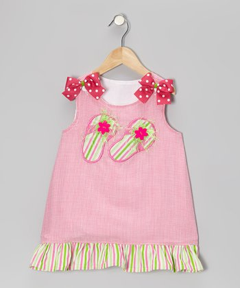Hot Pink Flip-Flop Gingham Dress - Infant, Toddler & Girls