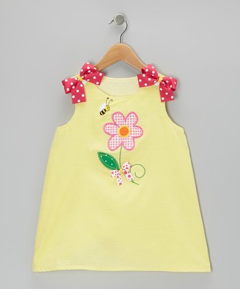 Yellow Flower & Bee Gingham Dress - Infant & Toddler