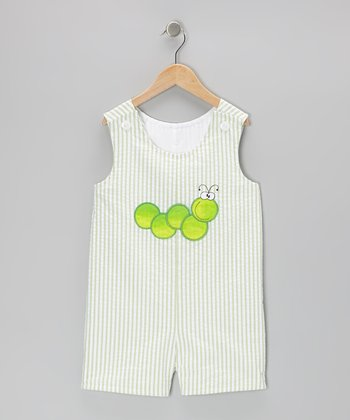 Green Inchworm Seersucker Shortalls - Infant