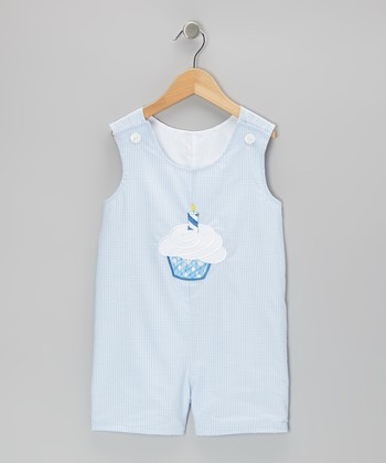 Light Blue Cupcake Seersucker Shortalls - Infant & Toddler