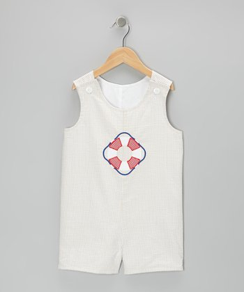 Khaki Life Preserver Gingham Shortalls - Infant & Toddler
