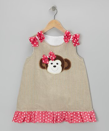 Khaki & Pink Monkey Gingham Dress - Infant & Toddler