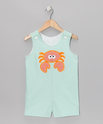 Mint Crab Seersucker Shortalls - Infant & Toddler