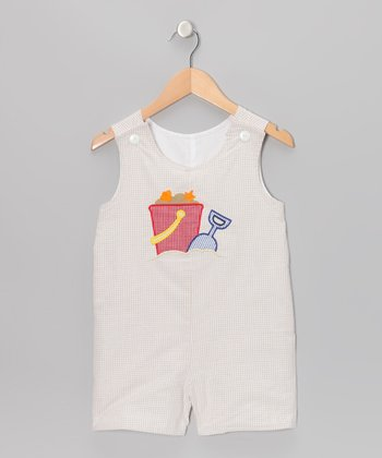 Khaki Pail Seersucker Shortalls - Infant & Toddler