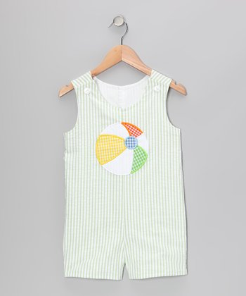 Lime Beach Ball Seersucker Shortalls - Infant & Toddler