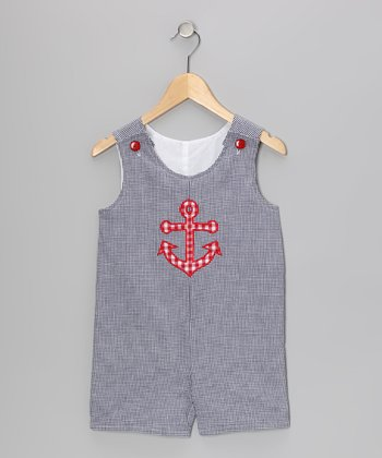 Navy Anchor Seersucker Shortalls - Infant & Toddler