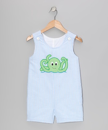 Light Blue Octopus Seersucker Shortalls - Infant & Toddler