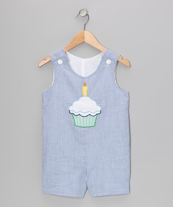 Blue Cupcake Seersucker Shortalls - Infant & Toddler