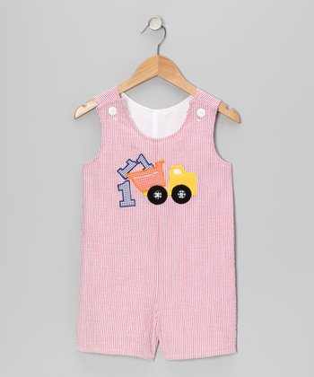 Red Truck Seersucker Shortalls - Infant