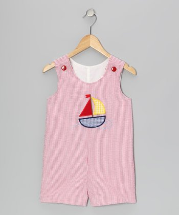 Red Stripe Seersucker Shortalls - Infant & Toddler