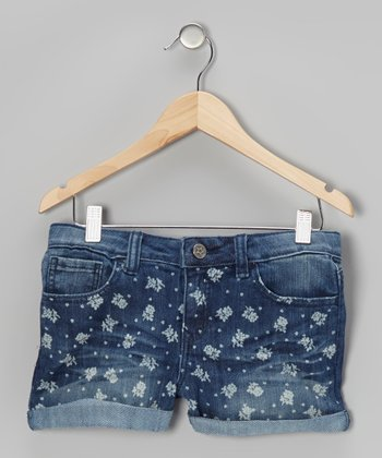 Medium Wash Rose Shorts