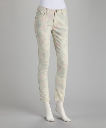 Cream & Pink Faded Stooges Cropped Pants