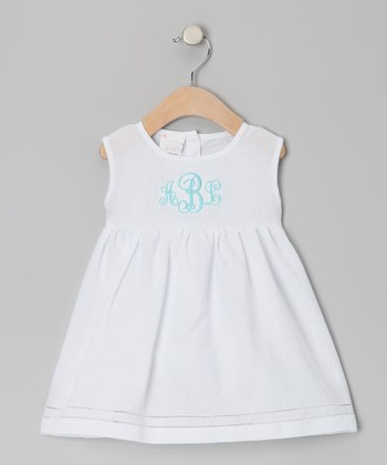 White & Aqua Monogram Linen-Blend Beach Dress - Infant & Toddler