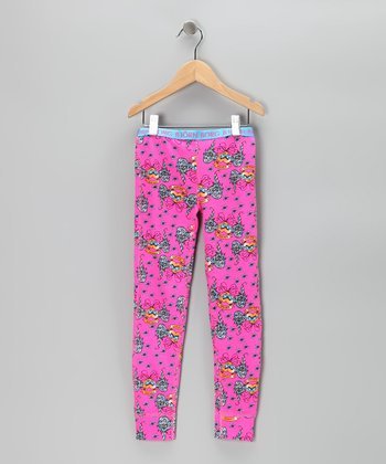 Björn Borg Pink Heart Tattoo Thermal Pants - Girls