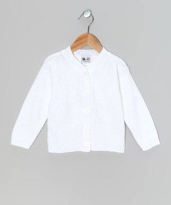 White Block-Stitch Cardigan - Toddler & Girls