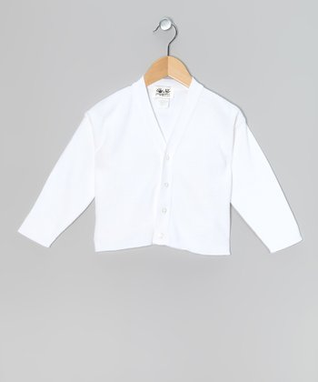 White V-Neck Cardigan - Toddler & Kids
