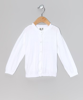 White Pointelle Cardigan - Toddler & Girls