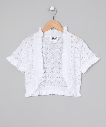 White Open-Knit Shrug - Toddler & Girls