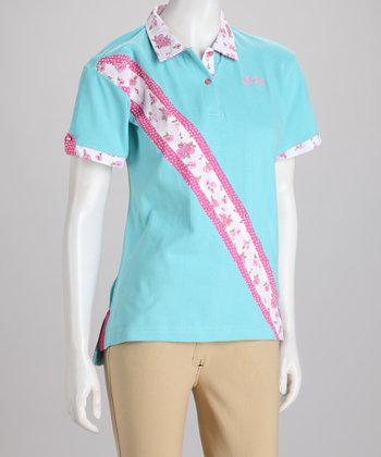 Blue & White Bindia Polo - Women