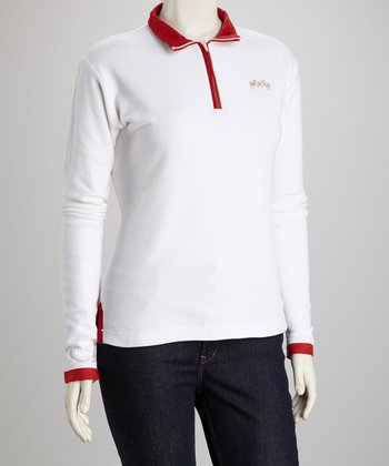 White & Red Spinnaker Track Jacket - Women & Plus