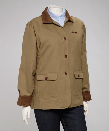 Khaki & Chocolate Cambridge Barn Coat - Plus