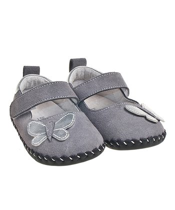 Gray Butterfly Suede Mary Jane