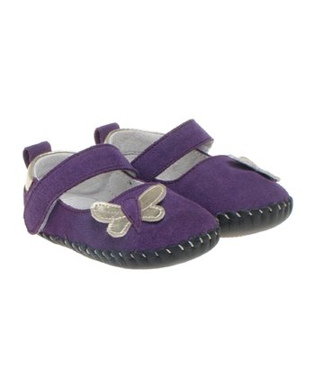 Purple Butterfly Suede Mary Jane