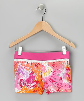 Orange Sun-Kissed Heart Shorts - Girls