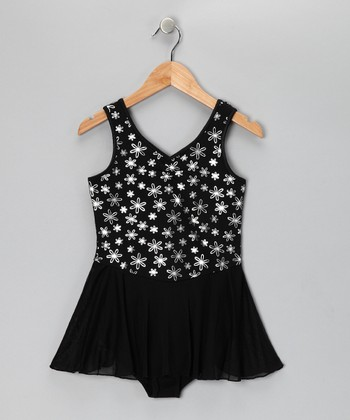 Black Soot Dazzling Daisy Skirted Leotard - Girls