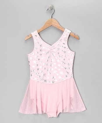 Dreamy Pink Dazzling Daisy Skirted Leotard - Girls
