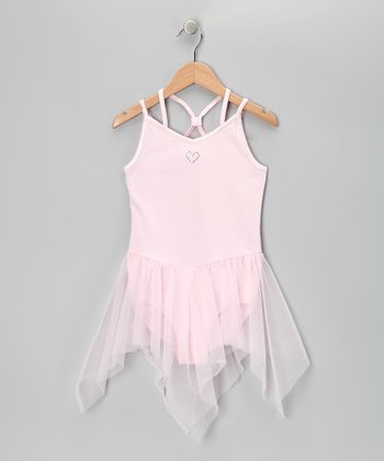 Dreamy Pink Enchanted Heart Skirted Leotard - Girls