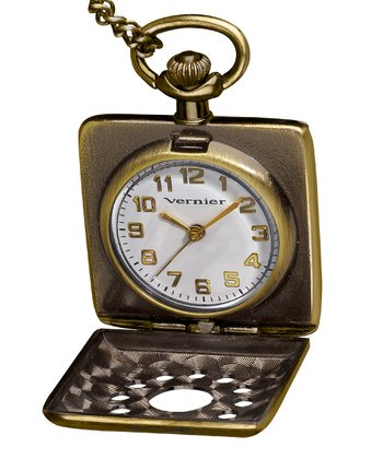 Antique Gold Square Peak-A-Boo Pendant Pocket Watch